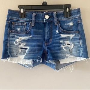 American Eagle Shortie Distressed Jean Shorts